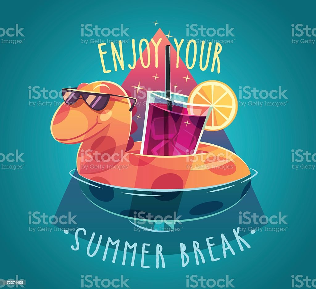 Summer card with a dinosaur life ring holding a cocktail vector art illustration
