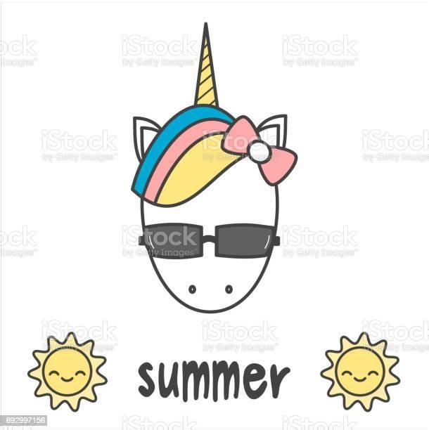 Summer card with cute cartoon colorful unicorn with sunglasses vector id692997156?b=1&k=6&m=692997156&s=612x612&h=uvfgh sqxje4gx7iu258lgzy hw9kikk2pntui0m5xw=