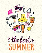 Summer card with lettering 'the best summer'. Vector illustration.