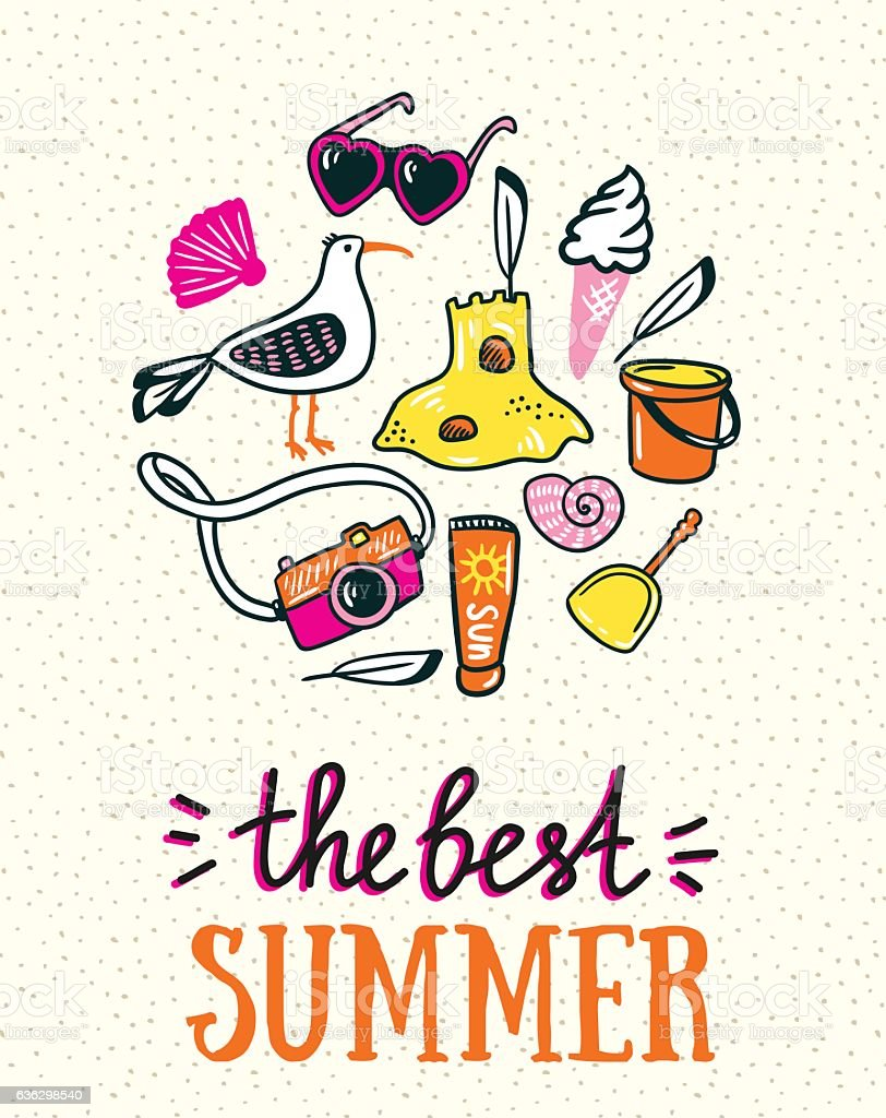 Summer card with lettering 'the best summer'. Vector illustration. vector art illustration