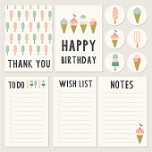Summer cards and to do list. Stationery template