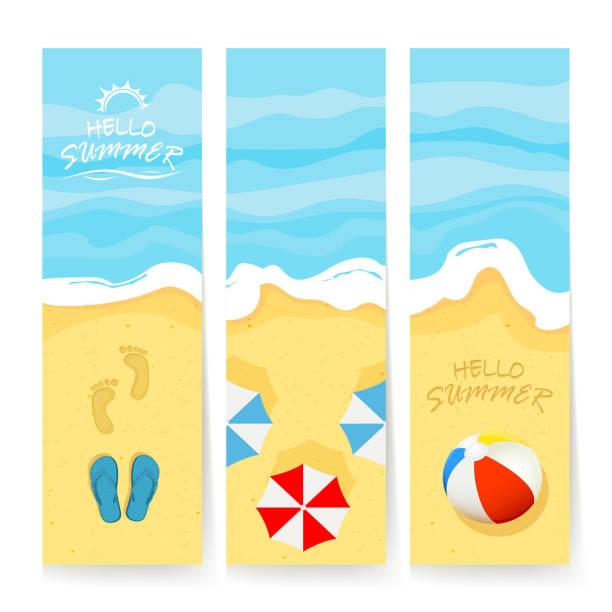 Summer cards with sea and sandy beach vector art illustration