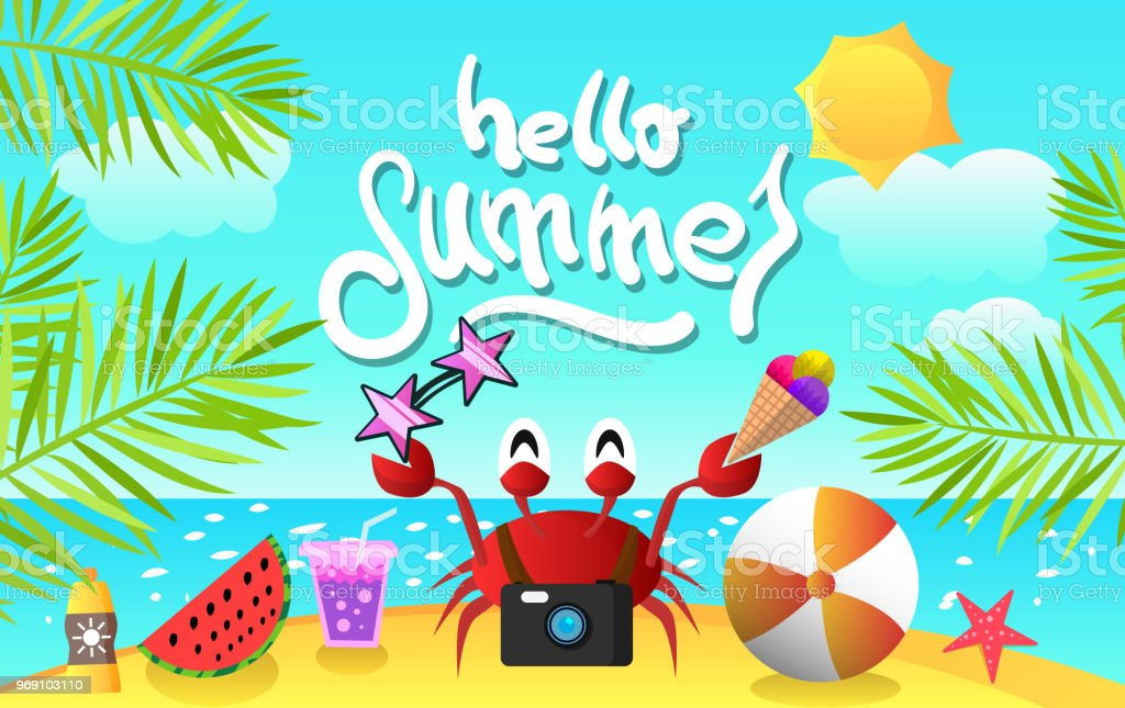 summer cartoon background with crab for design flyers, poster, postcard vector art illustration