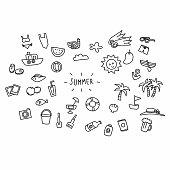 Summer cartoon doodle set vector illustration