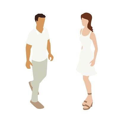 Summer Casual Couple Spot Illustration