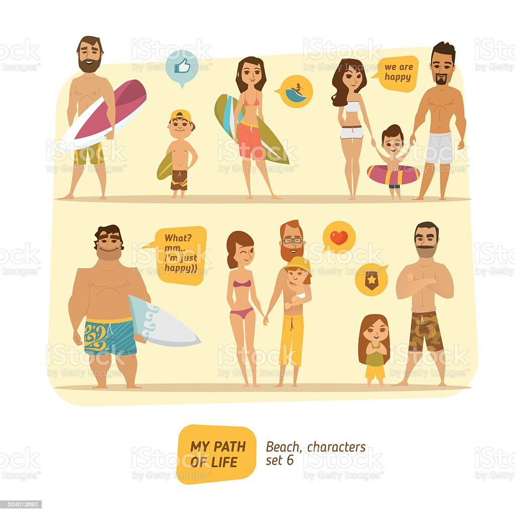 Summer characters collection vector art illustration