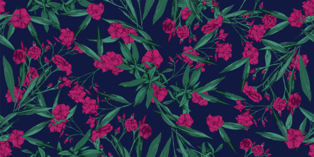 Verano alegre floral sin costura patrón de fondo de pantalla- adelfa caliente rosa y flores verdes sobre fondo azul oscuro - Vector - ilustración de arte vectorial