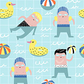 Summer Childish Seamless Pattern with Cute Boys in Swimming Pool. Creative Kids Background for Fabric, Textile, Wallpaper, Wrapping Paper. Vector illustration