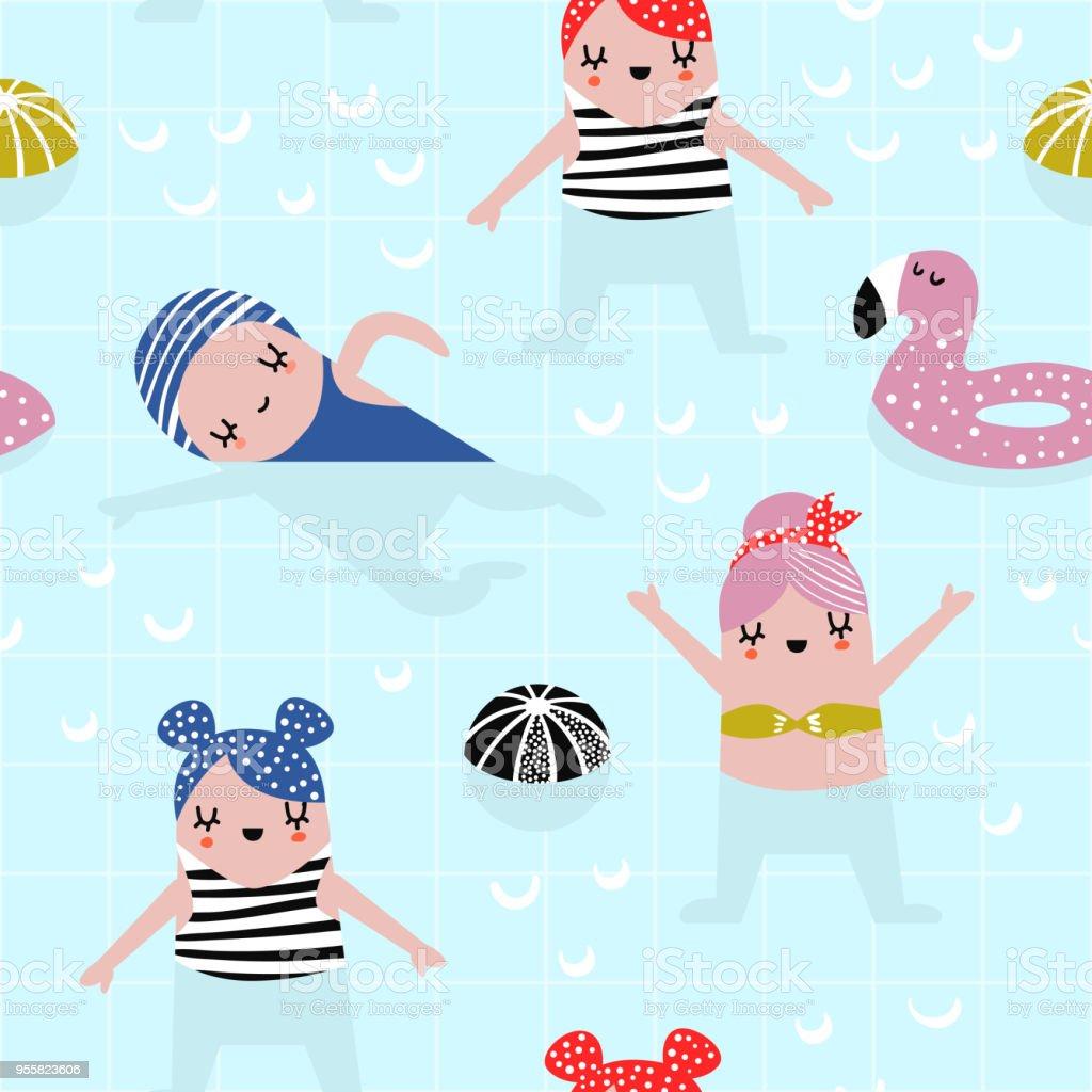 夏プールでかわいい女の子と幼稚なシームレス パターン布繊維壁紙包装紙