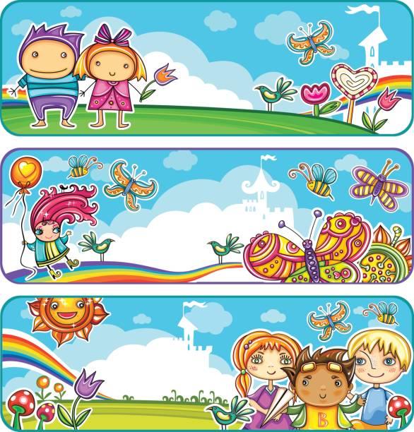 illustrations, cliparts, dessins animés et icônes de bannières d'enfants été - nuage 6