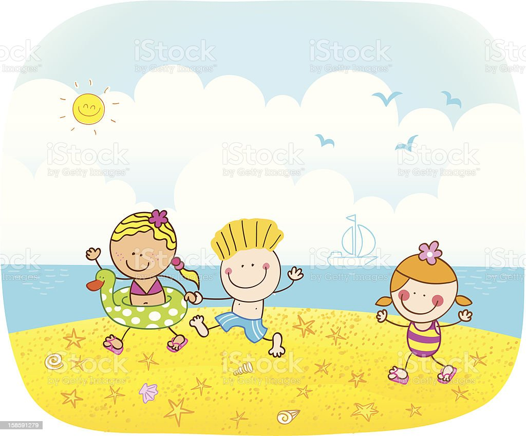 Summer children going to swimming cartoon illustration royalty-free stock vector art