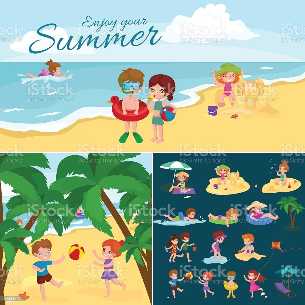 Summer children. Kids playing in the sand on beach vector art illustration