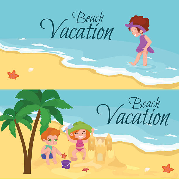 Kids Playing In The Sand On Beach Vector Art Illustration