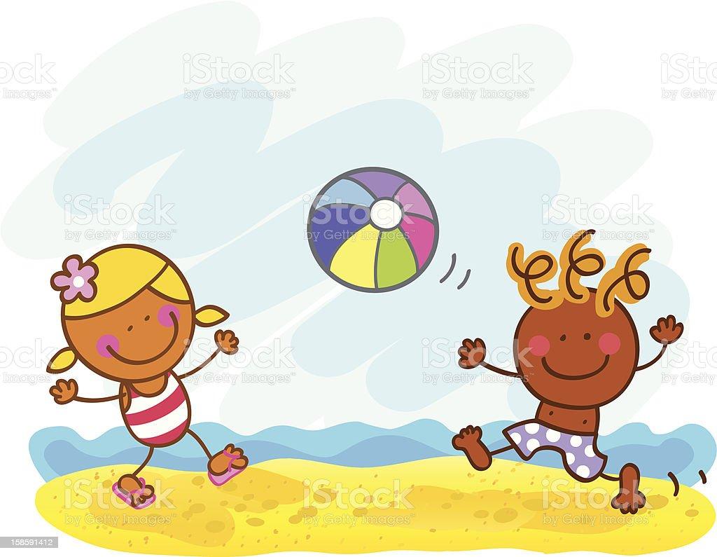 Ilustración De Niños Jugando En La Playa De Verano Ilustración