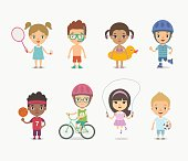 Set of cute, different nationalities children playing on summer holidays. Vector illustration. Kids playing various summer games, isolated on white.