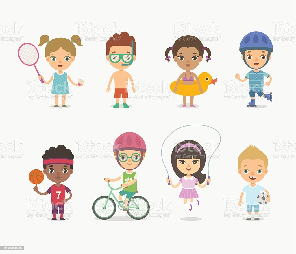Summer children playing vector art illustration