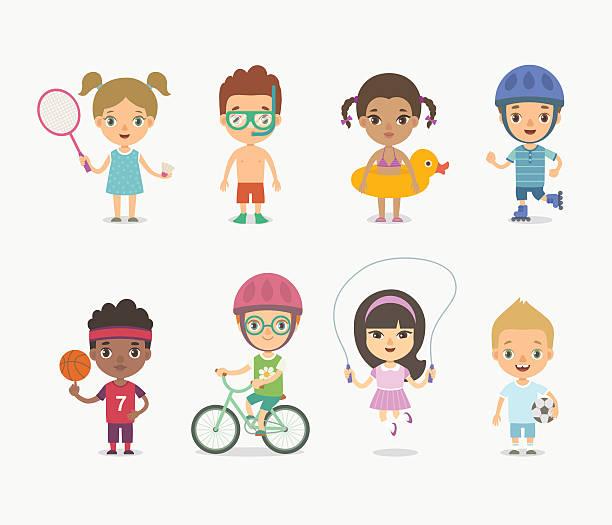 summer children playing - lustige fahrrad stock-grafiken, -clipart, -cartoons und -symbole