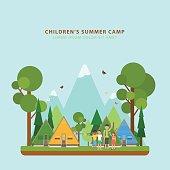 Summer children's camping. Vector concept.