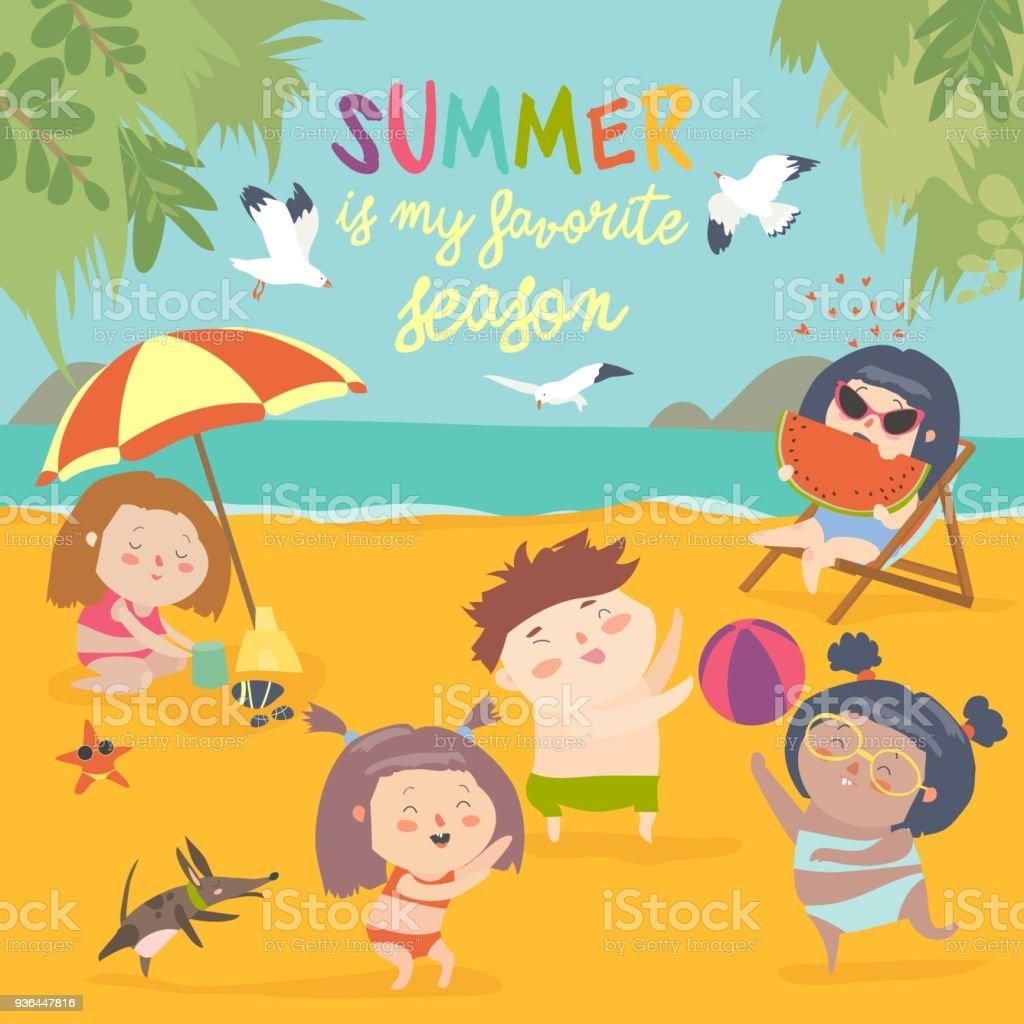 Actividades ao ar livre da correia de verão. Férias na praia - ilustração de arte em vetor