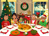 Family having a Christmas dinner in a tropical climate.