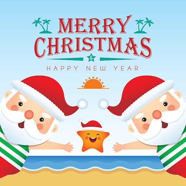 summer christmas illustration 1 - old man slippers stock illustrations, clip art, cartoons, & icons