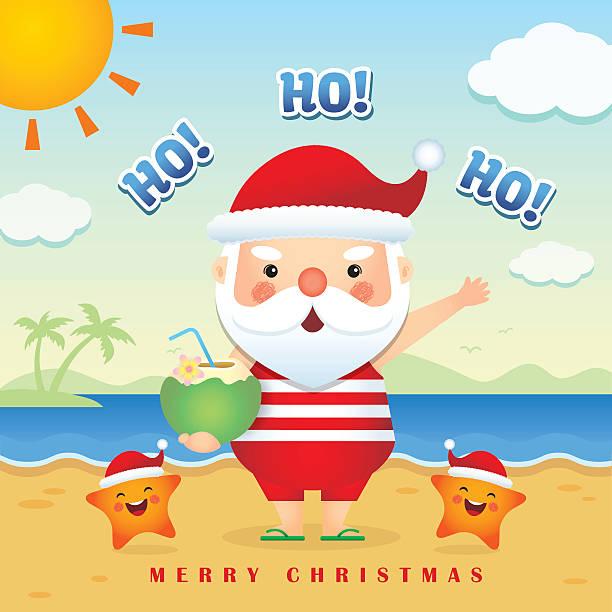 summer christmas illustration 4 - old man slippers stock illustrations, clip art, cartoons, & icons