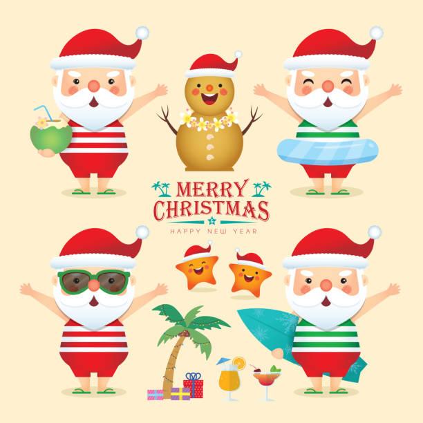 summer christmas - set of cartoon santa flat design - old man sunglasses stock illustrations, clip art, cartoons, & icons