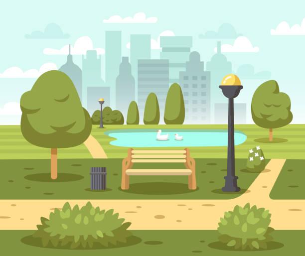 Summer city park background vector art illustration