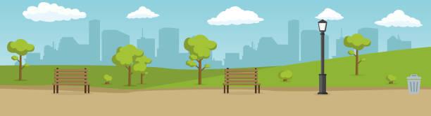 ilustrações, clipart, desenhos animados e ícones de parque da cidade do verão. céu azul da nuvem azul da estrada da montanha da paisagem do verão. - city