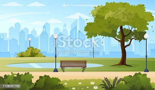 Vector illustration of a green park in modern city in America.