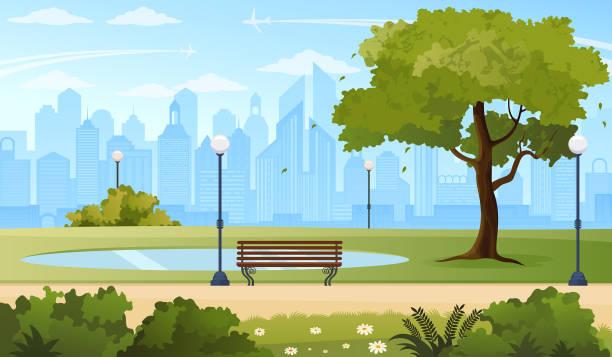 ilustraciones, imágenes clip art, dibujos animados e iconos de stock de parque de la ciudad de verano. - ciudad