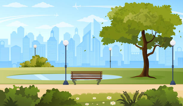 summer city park. - панорамный stock illustrations