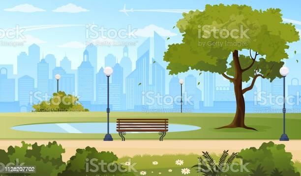 Summer City Park - Arte vetorial de stock e mais imagens de Ao Ar Livre
