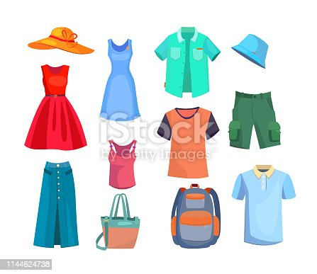 Summer clothes set. Collection of male and female apparel. Can be used for topics like vacation, shopping, fashion