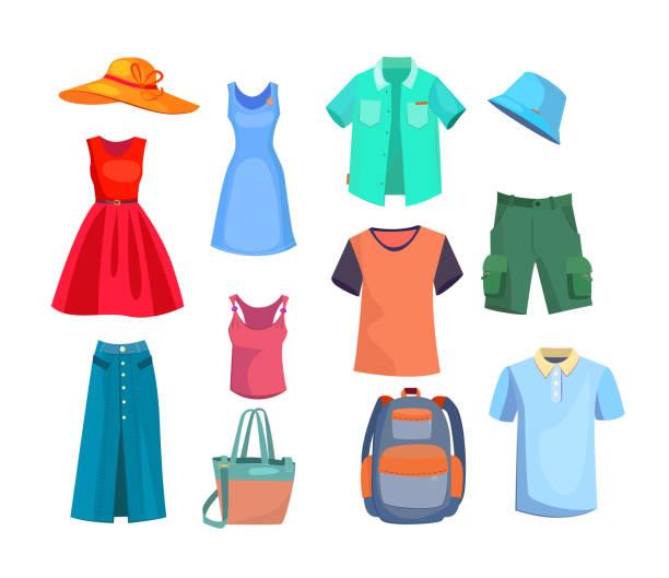 stockillustraties, clipart, cartoons en iconen met zomer kleding set - clothes