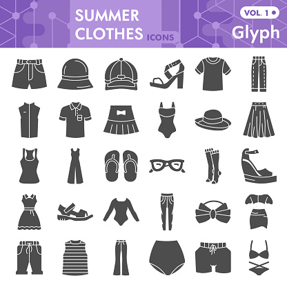 Summer clothes solid icon set, beach sea clothing symbols collection or sketches. Summer clothes and accessories glyph style signs for web and app. Vector graphics isolated on white background.