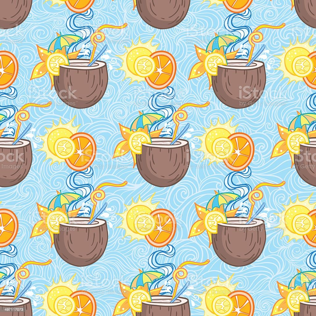 Summer cocktail pattern background vector art illustration