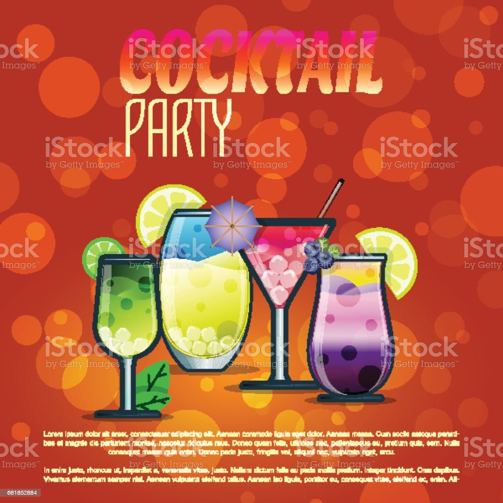 Sommer Cocktail Party Banner Einladung Flyer Karte Poster Mit ...