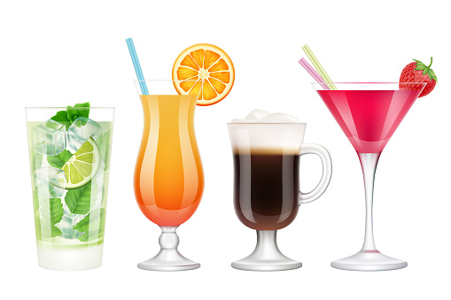 Summer cocktails realistic. Alcoholic drinks in glasses with ice tropical fruits irish coffee vodka margarita mojito colored vector