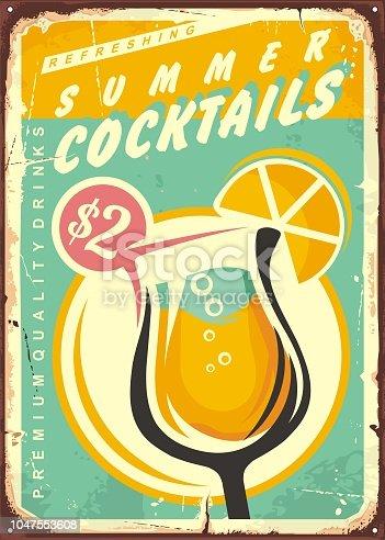 istock Summer cocktails retro tin sign design. 1047553608