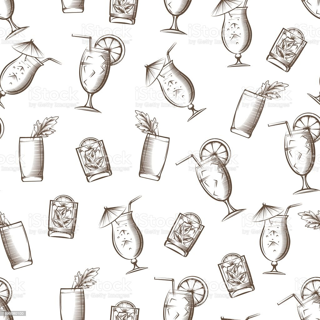 Summer cocktails seamless pattern - illustrazione arte vettoriale