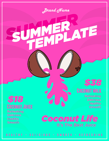 Summer Coconut Restaurant Flyer Template or Food and Juice Promo Poster