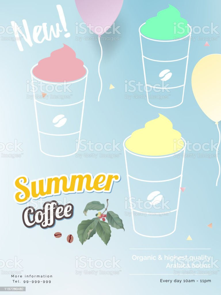 Summer coffee print ad/ poster/ banner template design, 3 cups of...