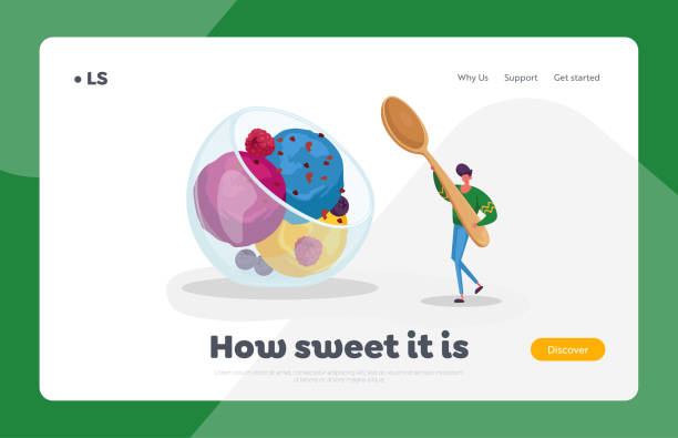 Summer Cold Treat Dessert Landing Page Template. Tiny Male Character Carry Huge Spoon in Hand for Eating Fruit Ice Cream Summer Food, Cold Treat Dessert Landing Page Template. Tiny Male Character Carry Huge Spoon in Hand for Eating Fruit Ice Cream Scoop Balls in Glass Bowl. Man with Icecream. Cartoon Vector Illustration bowl of ice cream stock illustrations