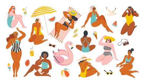 Summer collection. Vector illustration of resting women and objects and fruits issociated with summer holidays and vacation by the sea. Creator scene in a flat style