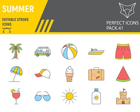 Summer color line icon set