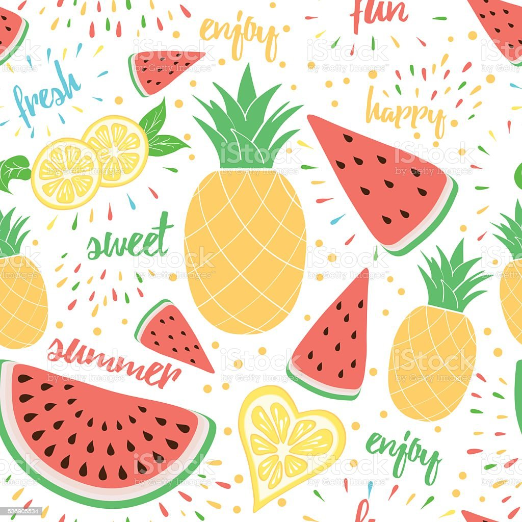 Summer Colorful Fresh And Sweet Fruits Background Stock