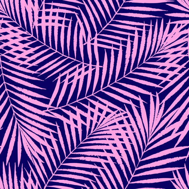 summer colorful tropical palm tree leaves seamless pattern. vector grunge design for cards, web, backgrounds and natural product - jungle stock illustrations