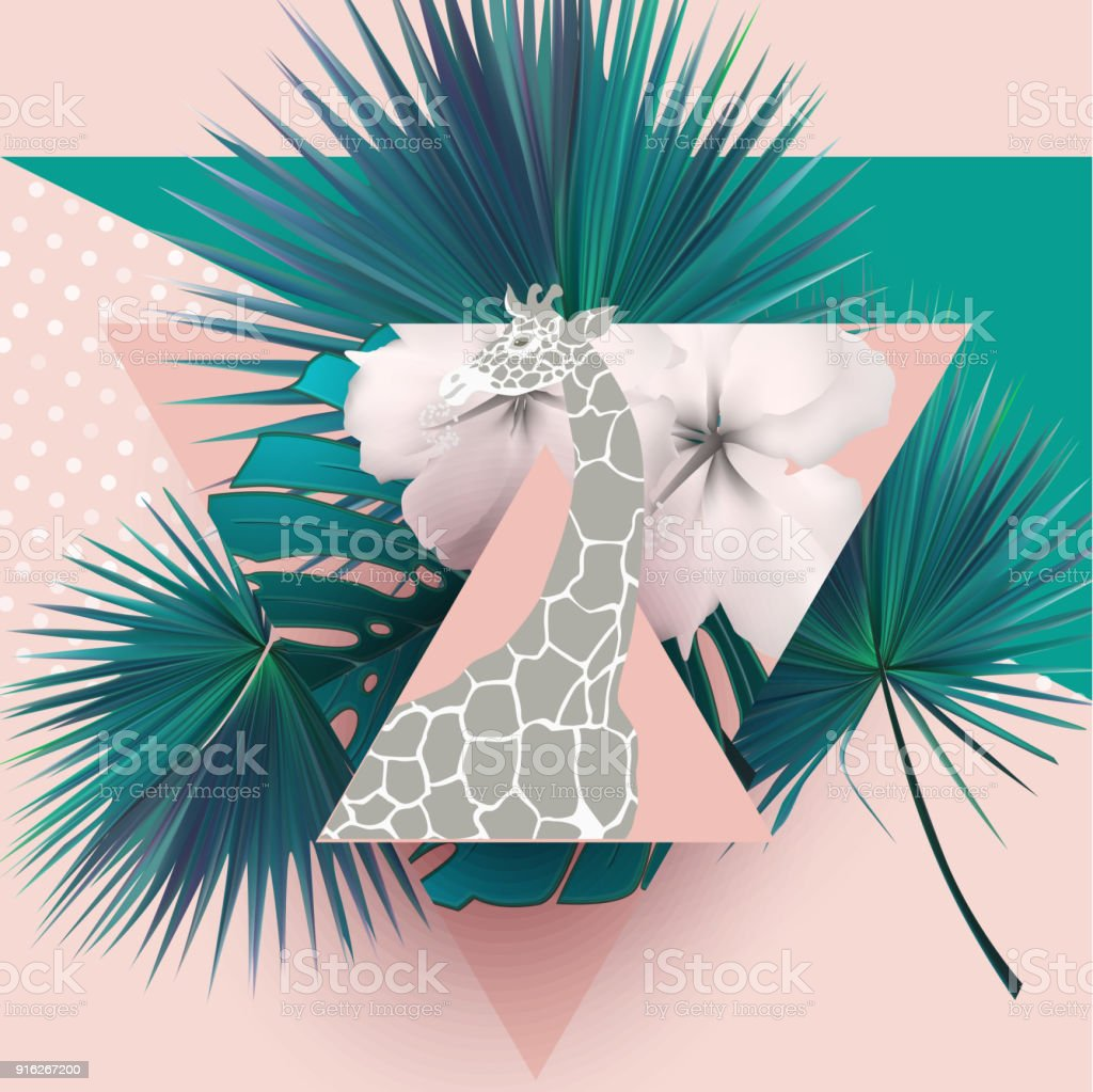Summer composition  with  palm leaves, flowers, giraffe and triangles. Vector illustration - illustrazione arte vettoriale