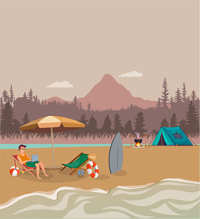 Summer concept. Mountain view tent and fire illustration. Sea, sand concept. Vector of young man resting and vacationing on the beach.